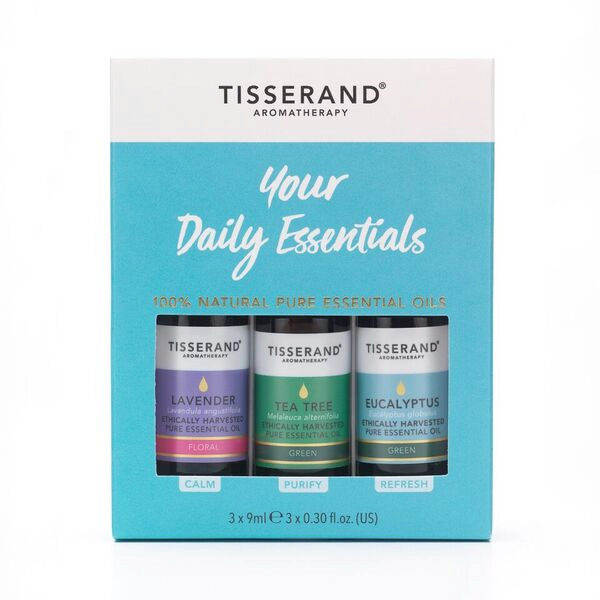 Tisserand aromaterapeutická sada nezbytných olejů: levandule, tea tree, eucalyptus, 3x 9 ml