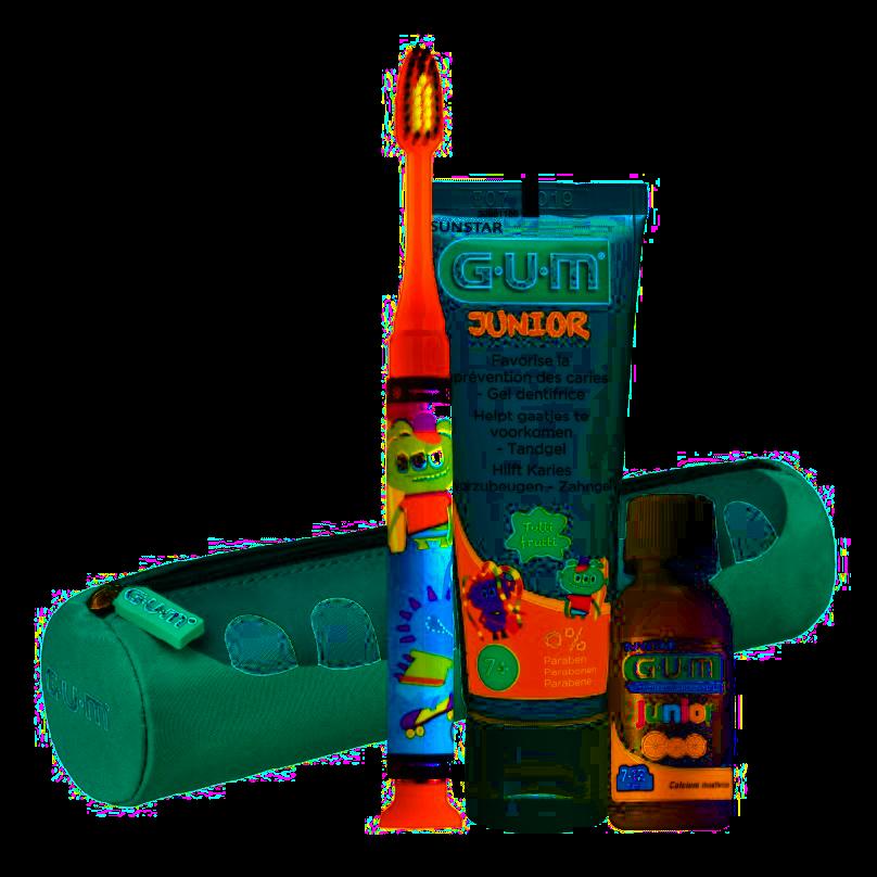 GUM JUNIOR sada na čištění zubů v penálu pro školáky