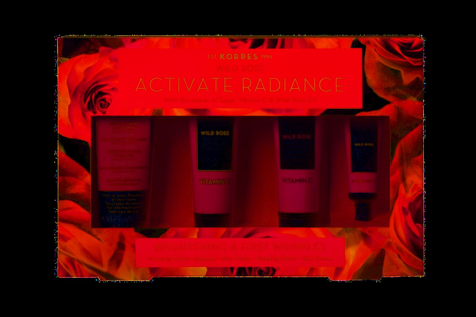 KORRES WILD ROSE ACTIVATE RADIANCE dárková sada pleťové rozjasňující a hydratační péče